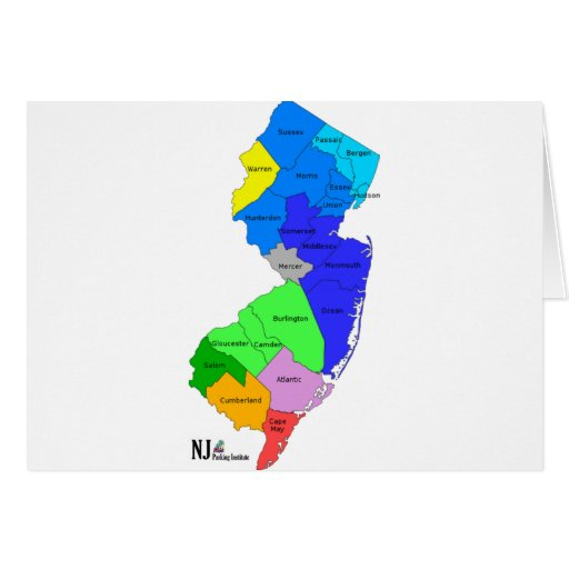 New Jersey Counties in Color Greeting Card