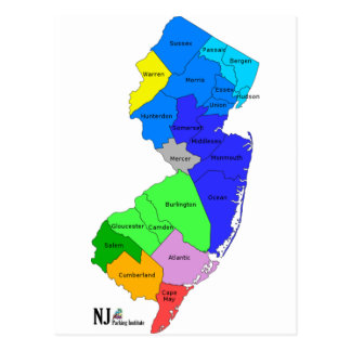 New Jersey Counties in Color Postcard