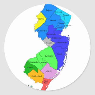 New Jersey Counties in Color Sticker