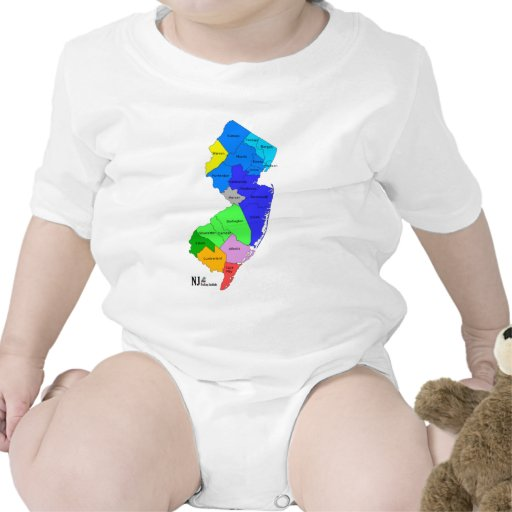 New Jersey Counties in Color Tee Shirts