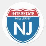 New Jersey de un estado a otro NJ Etiqueta Redonda