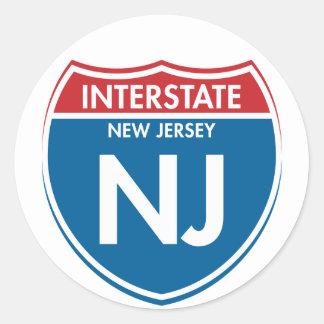 New Jersey de un estado a otro NJ Pegatina Redonda