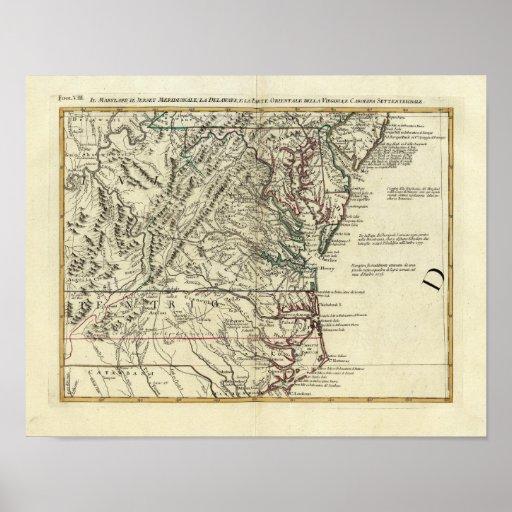 New Jersey, Delaware, Virginia, Carolina del Norte Posters