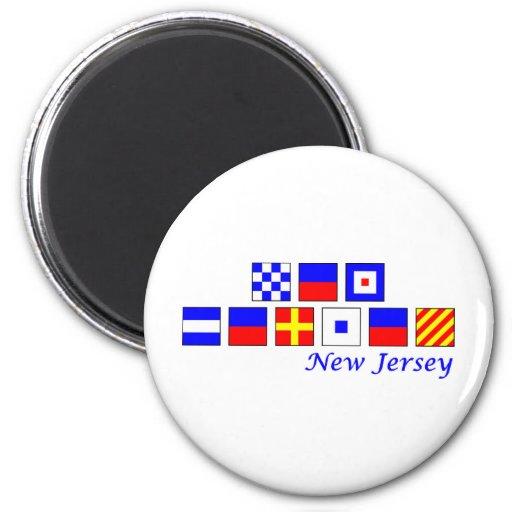 New Jersey deletreó en alfabeto náutico de la band Imán Redondo 5 Cm