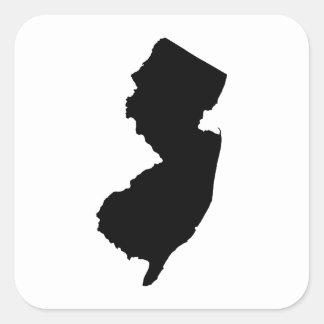 New Jersey en blanco y negro Pegatina Cuadrada