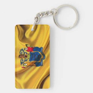 New Jersey Flag Fabric Double-Sided Rectangular Acrylic Keychain
