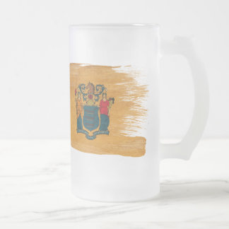 New Jersey Flag Frosted Glass Beer Mug