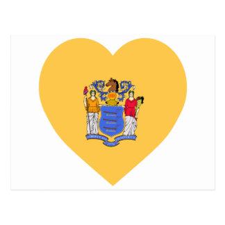New Jersey Flag Heart Post Card