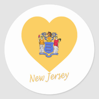 New Jersey Flag Heart Round Stickers