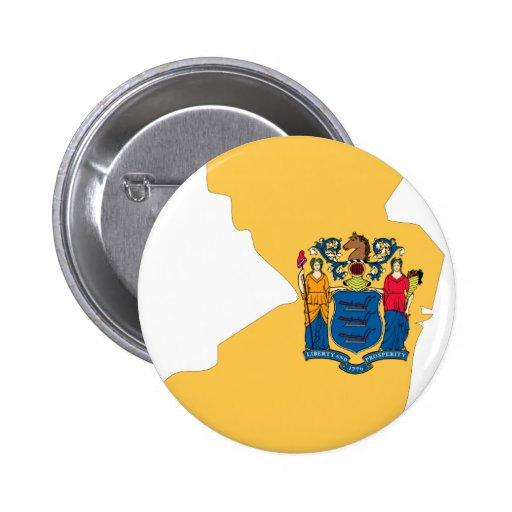 New Jersey Flag Map 2 Inch Round Button