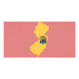 New Jersey Flag Map Picture Card