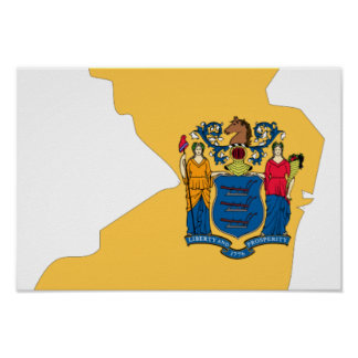 New Jersey Flag Map Poster