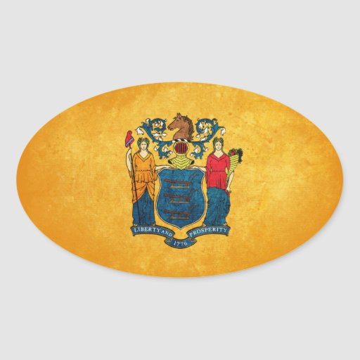 New Jersey Flag; Oval Sticker