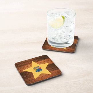 New Jersey Flag Star on Wood Drink Coasters