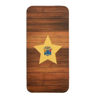 New Jersey Flag Star on Wood iPhone 5 Pouch