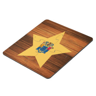 New Jersey Flag Star on Wood Puzzle Coaster