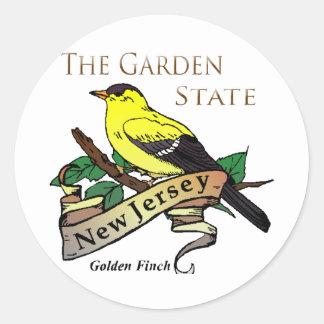 New Jersey Garden State Golden Finch Classic Round Sticker