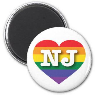 New Jersey Gay Pride Rainbow Heart - Big Love 2 Inch Round Magnet