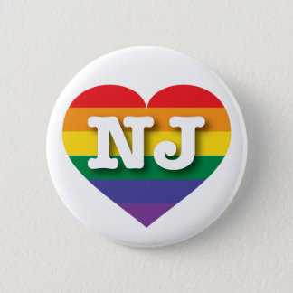 New Jersey Gay Pride Rainbow Heart - Big Love Button
