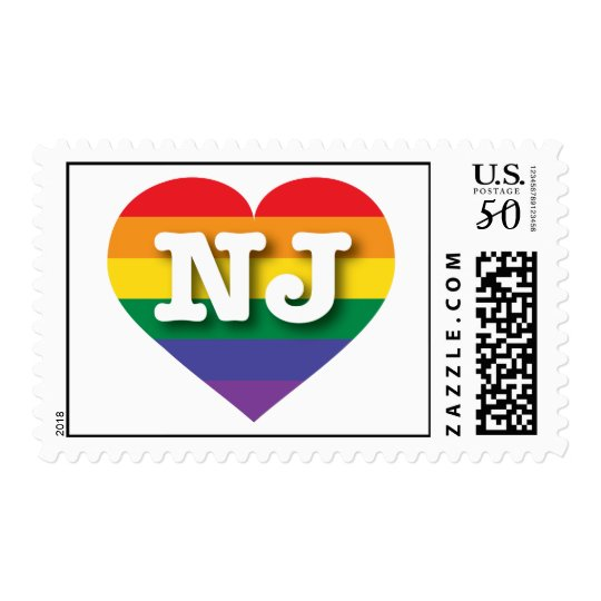 New Jersey Gay Pride Rainbow Heart - Big Love Postage