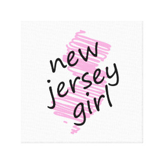 New Jersey Girl with Scribbled New Jersey Map Canvas Prints