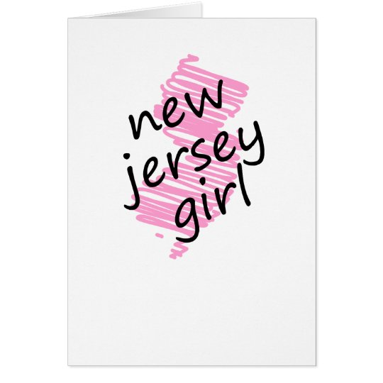 New Jersey Girl with Scribbled New Jersey Map Card