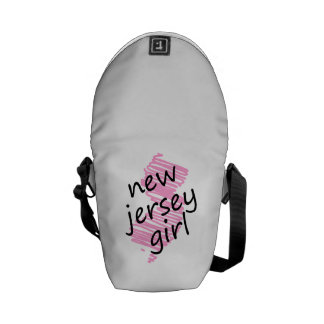 New Jersey Girl with Scribbled New Jersey Map Messenger Bag