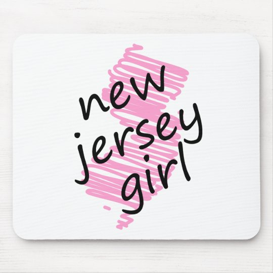 New Jersey Girl with Scribbled New Jersey Map Mouse Pad