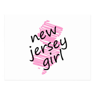 New Jersey Girl with Scribbled New Jersey Map Postcard