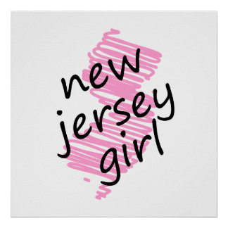 New Jersey Girl with Scribbled New Jersey Map Poster