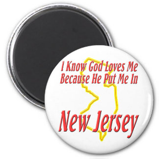 New Jersey - God Loves Me 2 Inch Round Magnet