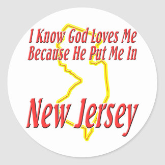 New Jersey - God Loves Me Classic Round Sticker