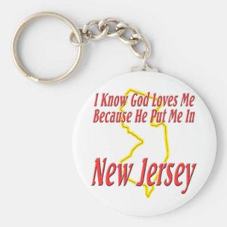New Jersey - God Loves Me Keychain
