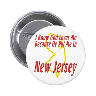 New Jersey - God Loves Me Pinback Button