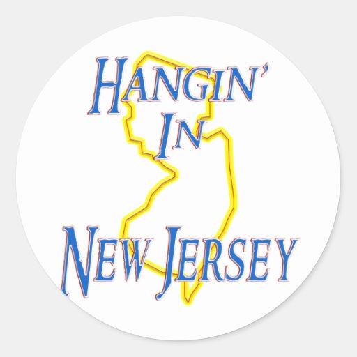 New Jersey - Hangin Pegatinas Redondas