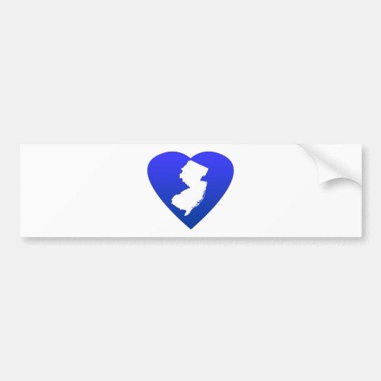New Jersey heart blue Bumper Sticker