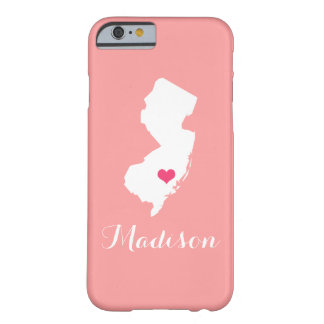 New Jersey Heart Coral Custom Monogram Barely There iPhone 6 Case