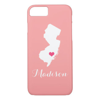 New Jersey Heart Coral Custom Monogram iPhone 7 Case