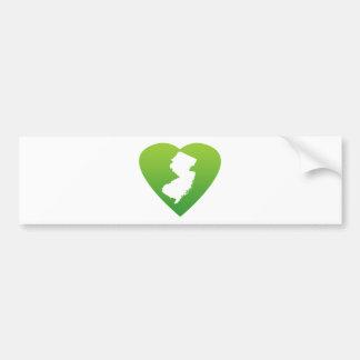 New Jersey heart green Bumper Sticker