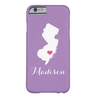 New Jersey Heart Lilac Custom Monogram Barely There iPhone 6 Case