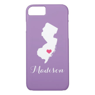 New Jersey Heart Lilac Custom Monogram iPhone 7 Case