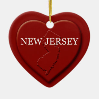 New Jersey Heart Map Christmas Ornament