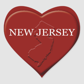 New Jersey Heart Map Design Sticker
