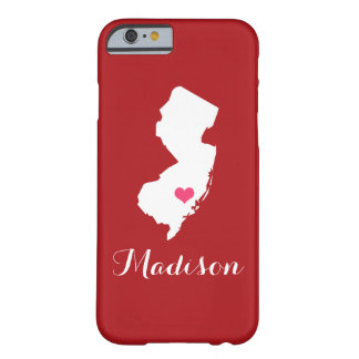 New Jersey Heart Maroon Custom Monogram Barely There iPhone 6 Case