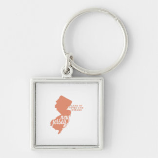 new jersey | hopes and dreams | peach Silver-Colored square keychain