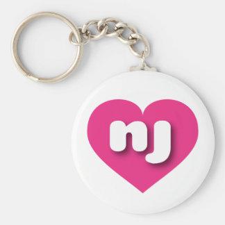 New Jersey hot pink heart Basic Round Button Keychain