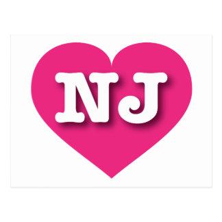 New Jersey Hot Pink Heart - Big Love Postcard