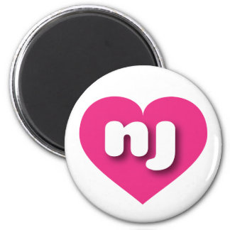 New Jersey hot pink heart - mini love 2 Inch Round Magnet