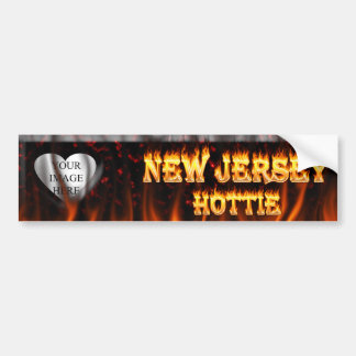 New Jersey Hottie fire and red marble heart. Car Bumper Sticker