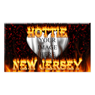 New Jersey Hottie fire and red marble heart. Double-Sided Standard Business Cards (Pack Of 100)